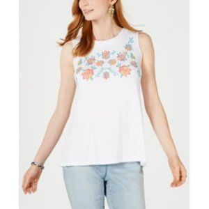 Style & Co. Womens Floral Embroidered Tank Top